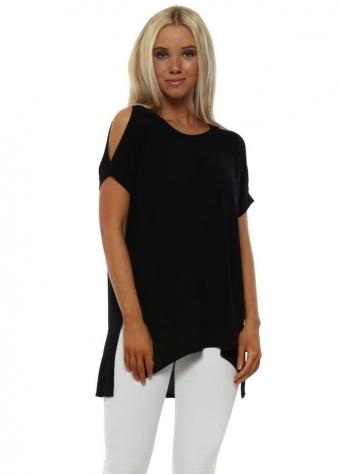 Sukhi Black Jersey Open Sleeve T-Shirt