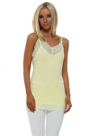 Ling Ling Lace Trim Strappy Vest In Lemon