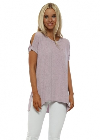 Sukhi Blush Melange Jersey Open Sleeve T-Shirt