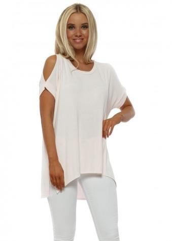 Sukhi Milky Rose Jersey Open Sleeve T-Shirt