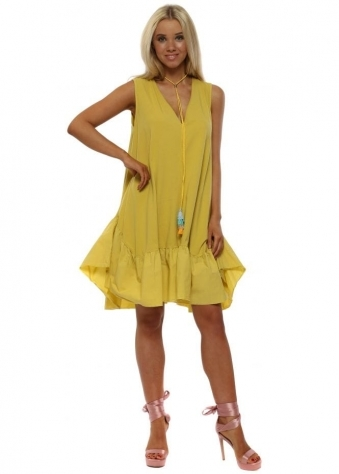 Mustard Cotton Frill Dress With Tassel Necklace
