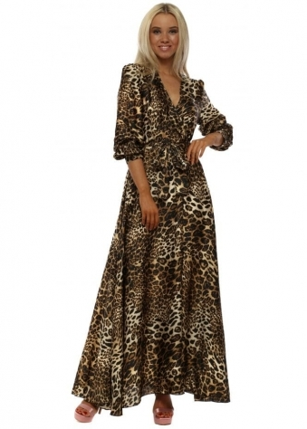 Leopard Print Wrap Maxi Dress
