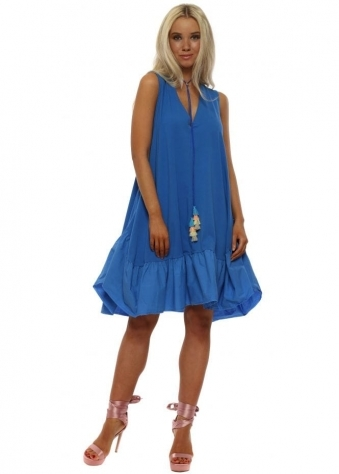 Blue Cotton Frill Dress With Tassel Necklace