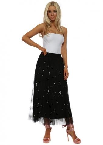 Black Tulle Pearl Embellished Maxi Skirt
