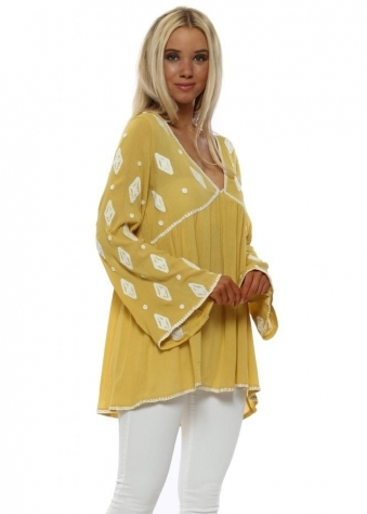 Mustard Embroidered Gypsy Top