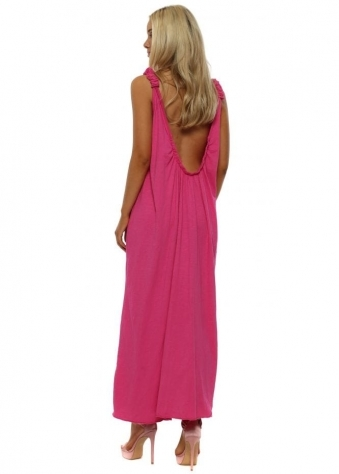 Bright Pink Scoop Back Jersey Maxi Dress