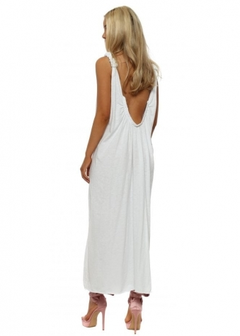White Scoop Back Jersey Maxi Dress