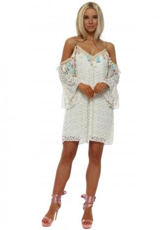 Cream Lace Cold Shoulder Dress
