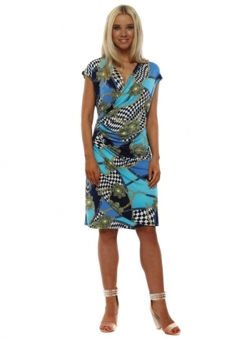Turquoise Chain & Check Print Wrap Dress