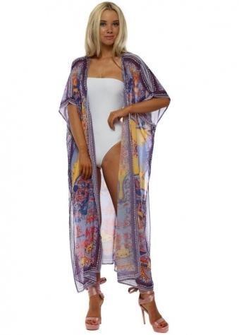 Purple Chiffon Long Kimono