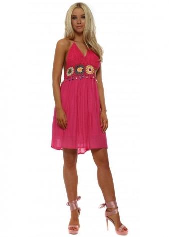 Hot Pink Crochet Bust Halterneck Beach Dress