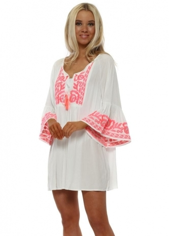 White & Pink Neon Bell Sleeve Beach Top