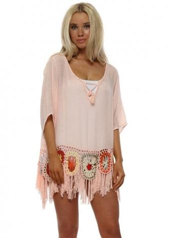 Pink Crochet Flower & Tassel Beach Top