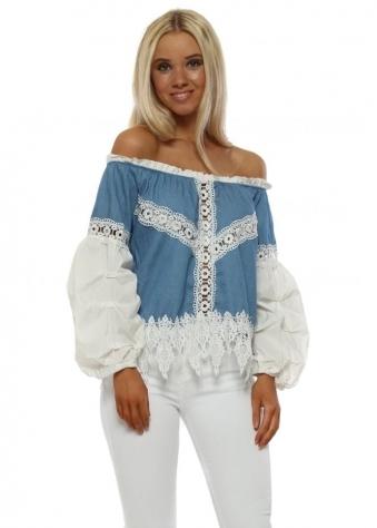 Denim Blue White Lace Bardot Top
