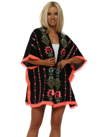 Black Neon Embroidered Beach Cover Up