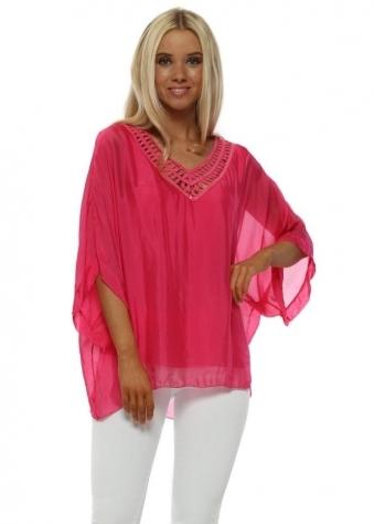 Hot Pink Silk Sequin Batwing Top