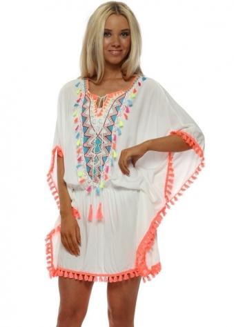 White Neon Tassel Kaftan Tunic