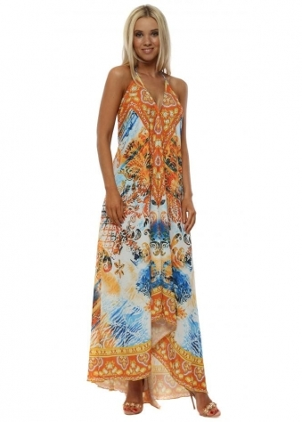 Orange Sunset Low Back Maxi Dress