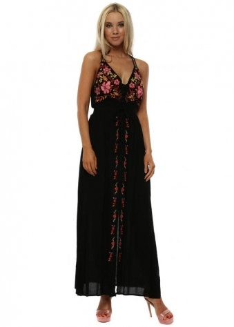 Black Floral Embroidered Strappy Maxi Dress