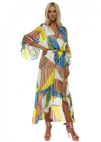 Yellow & Blue Patchwork Wrap Front Frill Maxi Dress