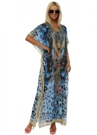 Blue Aztec Print Crystal Maxi Kaftan