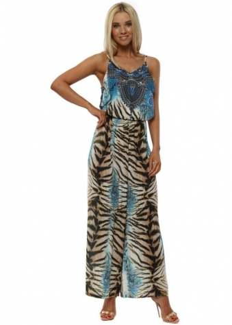 Blue Exotic Animal Print Strappy Jumpsuit