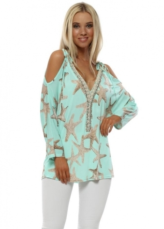 Turquoise Starfish Cold Shoulder Seashell Top