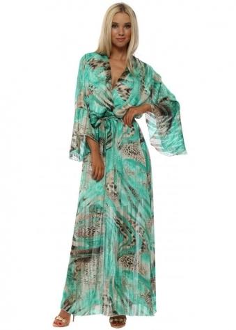 Green Leopard Print Crossover Maxi Dress