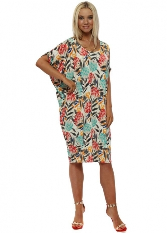 Red & Green Floral Print Tunic Dress