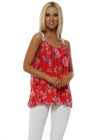 Red Floral Print Silk Vest Top