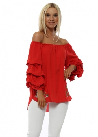 Red Ruched Sleeve Bardot Top