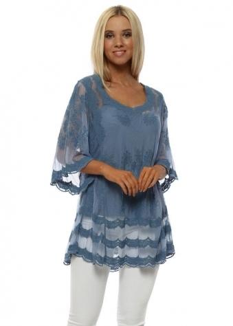 Denim Blue Lace Semi Sheer Top