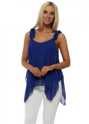 Blue Flower Strap Handkerchief Swing Top