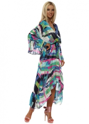 Pink & Blue Abstract Stripe Wrap Front Frill Maxi Dress