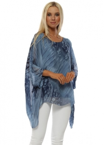 Denim Blue Paisley Print Silk Top
