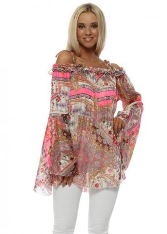 Neon Paisley Print Bardot Bell Sleeve Tunic Top