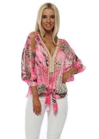Biarritz Hot Pink & Leopard Tie Front Top