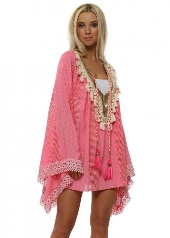 Egypte Pink Embellished Kaftan Top