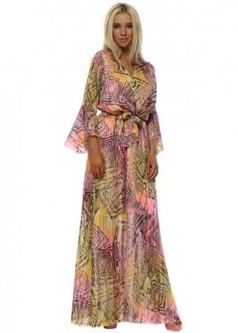 Neon Snakeskin Print Crossover Maxi Dress