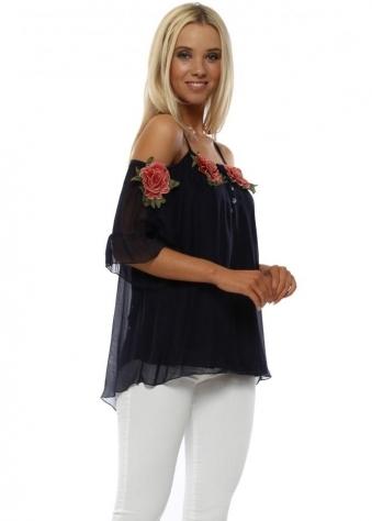 Navy Floral Applique Silk Cold Shoulder Top