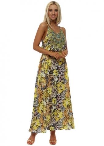 Yellow Exotic Animal Print Strappy Dress