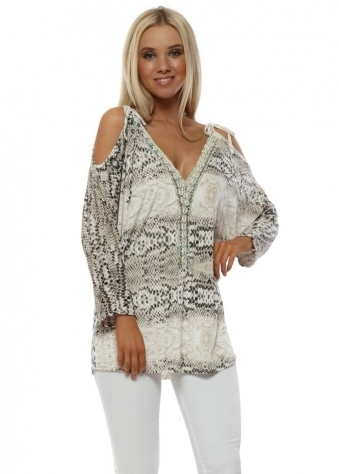 Beige Snakeskin Cold Shoulder Seashell Top