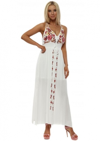 White Floral Embroidered Strappy Maxi Dress