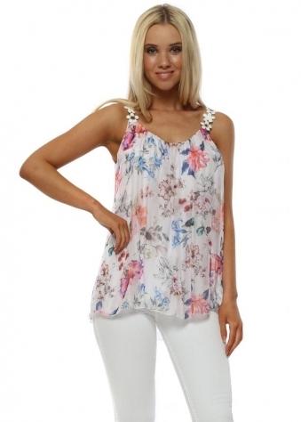 White Floral Print Silk Top