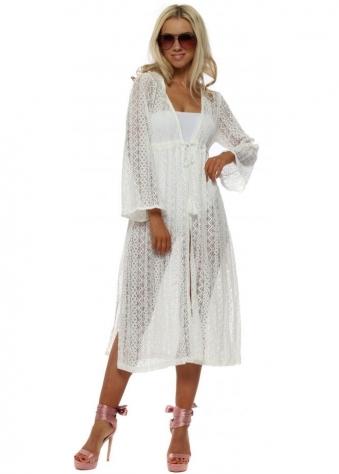 White Crochet Lace Tassle Cardigan