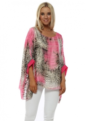 Pink Animal Print Sequin Cuff Kaftan Top