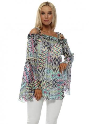 Blue Aztec Print Bardot Bell Sleeve Tunic Top