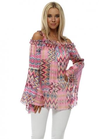 Hot Pink Aztec Print Bardot Bell Sleeve Tunic Top