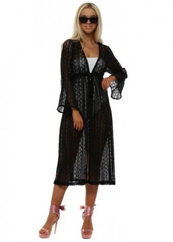 Black Crochet Lace Tassle Cardigan