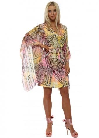 Neon Snakeskin Drape Kaftan Tie Dress